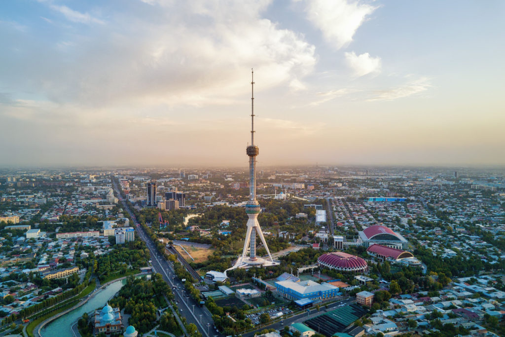 Tashkent TV Tower Aerial Shot During Sunset in Uzbekistan